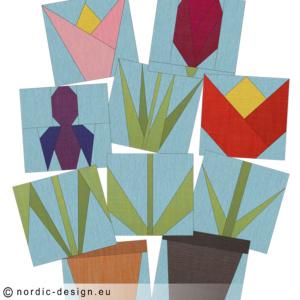Sy vackra vårblommor i Paper Piecing